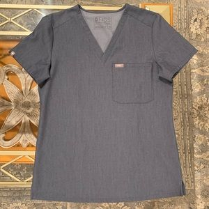 Figs Catarina Heather Denim scrub top